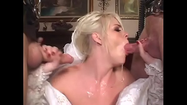Cheating blonde bride decided to be double penetrated before wedding by two uknown guys weared gas masks and latex