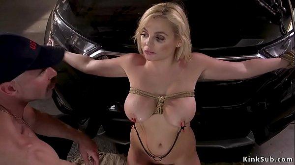 Huge tits spy is fucked in rope bondage