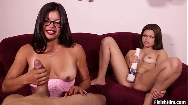 2 Latina's Having a of Fun with a Handjob Thumb