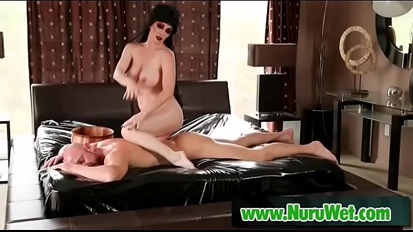 Busty milf gives oiled nuru massage - Ray Veness and Will Powers  thumbnail