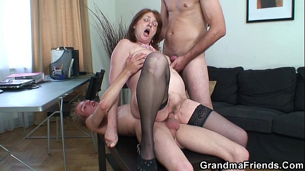 Threesome office fucking with granny Thumb