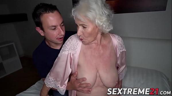 Busty elder Norma sucks cock before penetration Thumb
