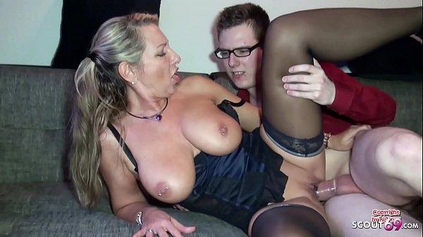 German Stepmom Help Huge Cock Virgin Boy with First Fuck Thumb