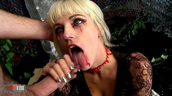 Sexy blonde vampire cock sucker and hard fucker