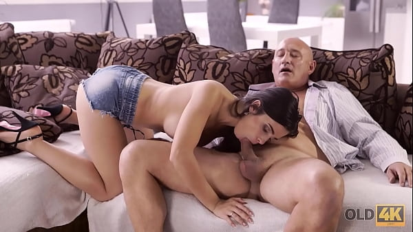 OLD4K. Naughty brunette tempts old man into drilling her butthole Thumb