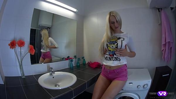 TmwVRnet.com - Katy Sky - Blonde orgasms on bathroom sink