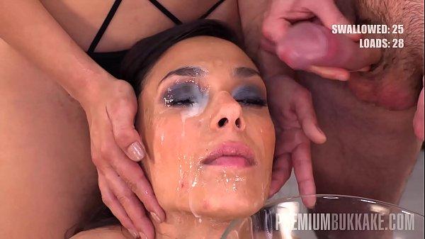 Premium Bukkake - Ashley Ocean swallows 39 huge mouthful cum loads
