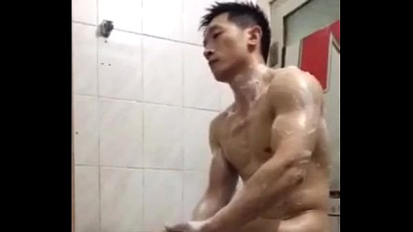 Handsome chinese police jerk off