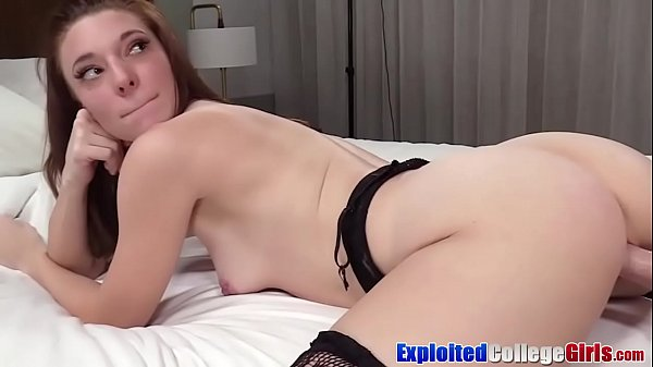 College toying with Jaycee in big cock facial a...