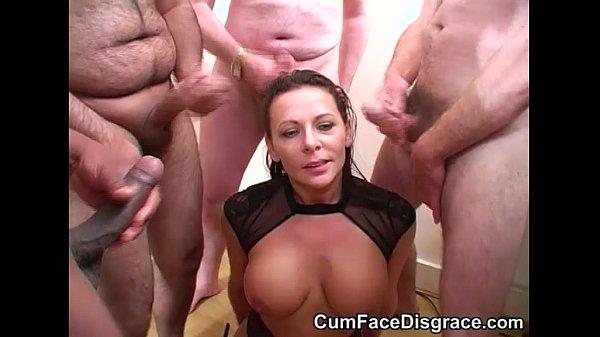 Carly sucks on big cocks and takes bukkake Thumb