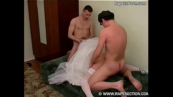 Beautiful bride forcely fucked by two fuckers
