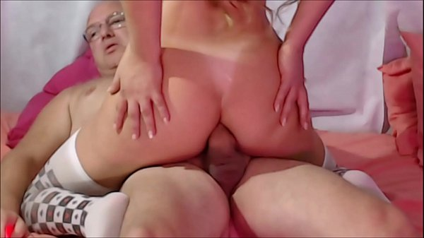huge dick getting long in the pussy and ass of the wife while the cuckold watches silently