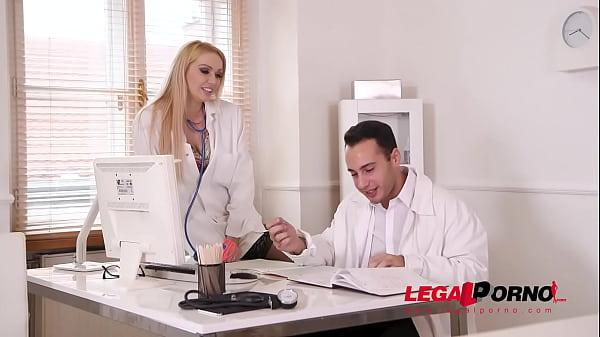 Blonde busty nurse Amber Jayne rides Doc's big fat dick at the XXX clinic GP454 Thumb