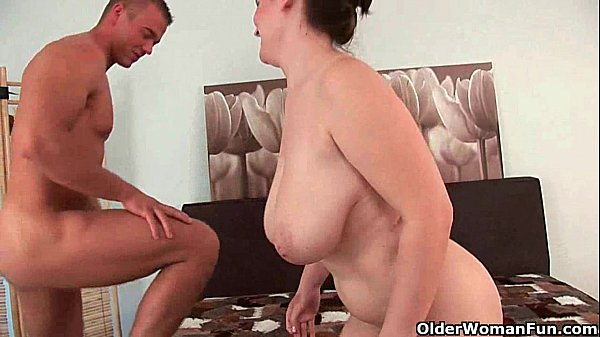 Mature mom gets her big tits fucked and jism glazed