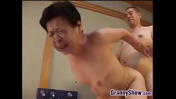 Japanese Grandma Giving A Great Blowjob
