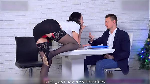 Kisscat Job Interview through DP Hard Ass Fuck with Anal Orgasm