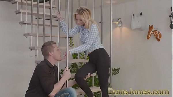 DaneJones Gorgeous shaved blonde fucks on staircase
