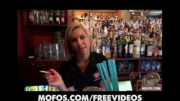Gorgeous blonde bartender is talked into having sex at... thumbnail