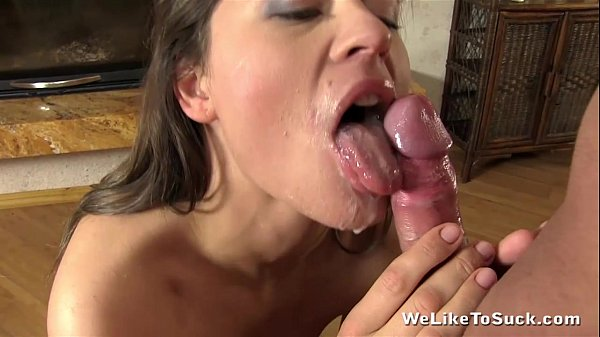 Messy Beth lets cum drip all down her chin