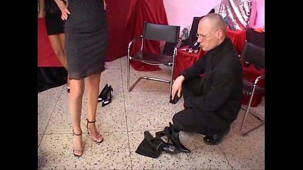 Celia Jones - threesome - in the shoe shop with J.B. Thumb