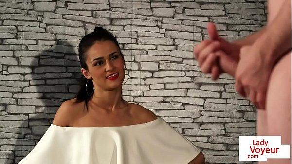 British glamour voyeur tells her sub to tug Thumb