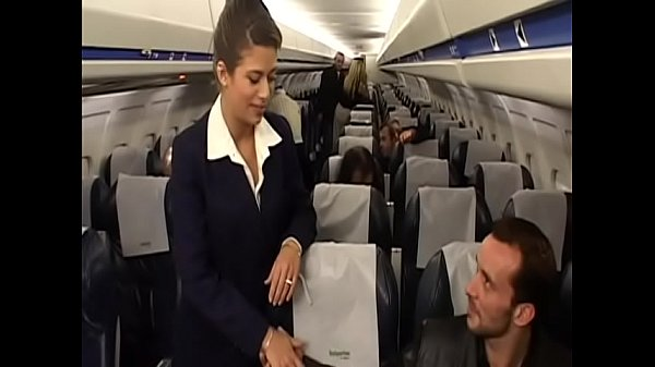 Charming brunette air-hostess Alyson Ray proposed passenger to poke her juicy ass after  scheduled flight Thumb