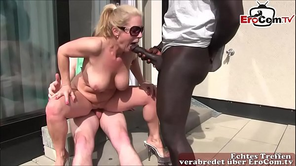 German housewife at private gangbang with natural boobs and young guys