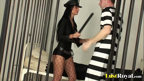 Sexy police officer Black Angelika inspects a prisoner Thumb