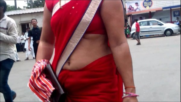 Red Saree Aunty Showing Deep Navel