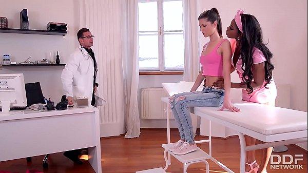 Sizzling hot ebony Dominatrix Jasmine Webb humiliates Gina with horny Doc Thumb