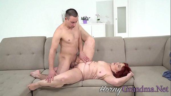 Redhead granny milks cock Thumb