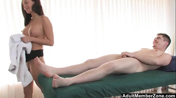 AdultMemberZone – Masseuse decides to have fun with her next client.