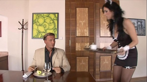 Hung white guy gets his cock deep throated by Spanish maid Bijou then fucks her Thumb