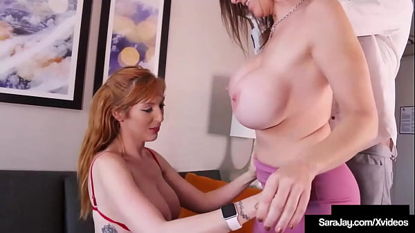 Cougar Sara Jay And Busty Lauren Phillips Milking A Dick In Hot 3way!