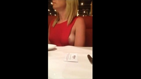 milf show her boobs in restaurant