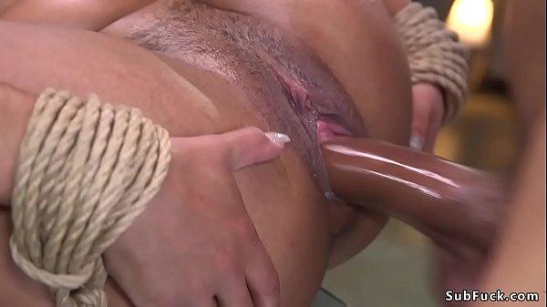 Petite ebony sub spanked and fucked bdsm