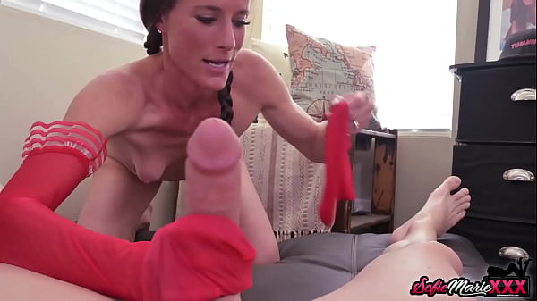 Naughty MILF Sofie Marie Gives Handjob With Red Stockings