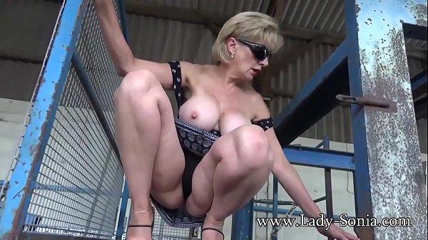 Big tit blonde Lady Sonia flashing in public Thumb