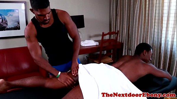 Muscled ebony stud assfucking latino jock