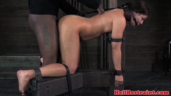 Spider gagged bitch getting caned