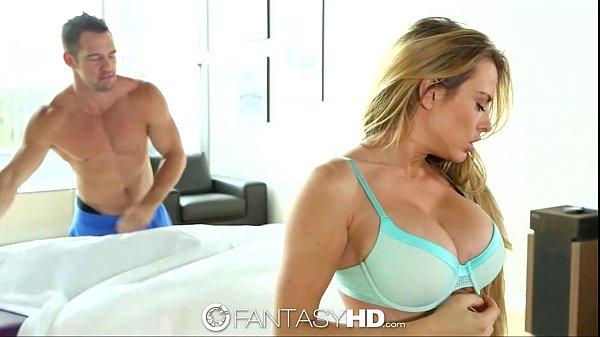HD - FantasyHD Busty Corrine Blake gets rub down on pierced clit