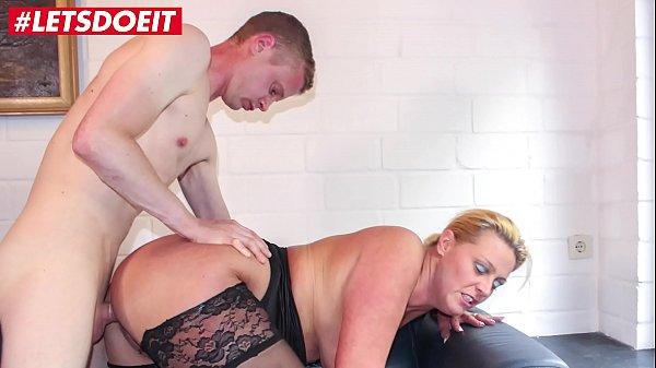 LETSDOEIT - German Cougar Abuses a Young Big Cock
