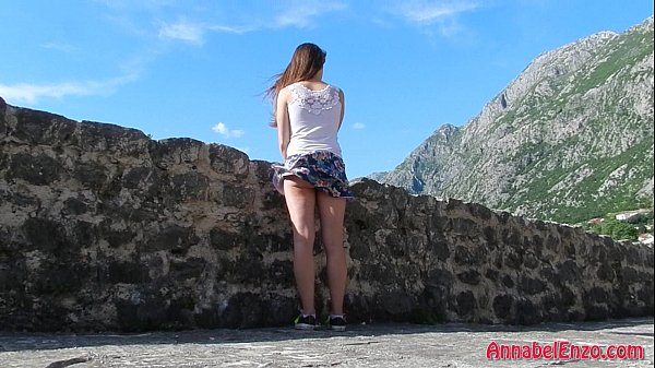 Windy Upskirt and No Panties in Public Thumb