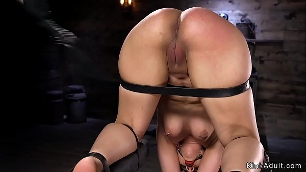 Goth beauty in device bondage gets whipped