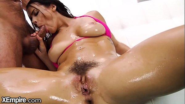 XEmpire Kiesha Grey puts Big Cock in Oiled Asshole & Toy in Puss Thumb