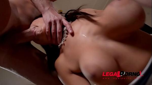 Top-heavy double dick addict Susana Alcala DP'ed until she screams & creams GP574