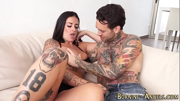 Busty tatted slut railed