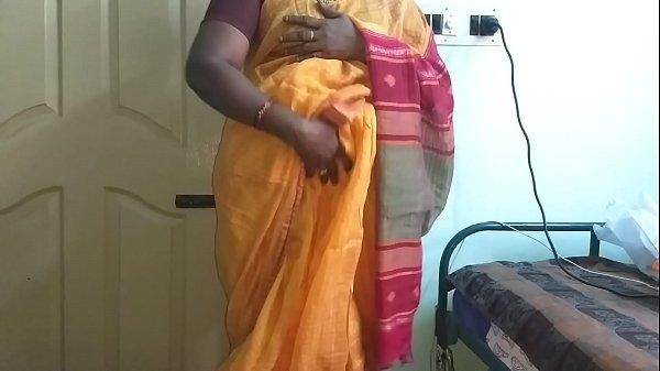 desi  indian horny tamil telugu kannada malayalam hindi cheating wife vanitha wearing orange colour saree  showing big boobs and shaved pussy press hard boobs press nip rubbing pussy masturbation Thumb