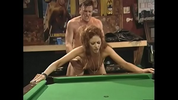 Pretty redhaired chick in black leather dress Chloe was able to cop off with two well stuffed dudes in bikers road house Thumb