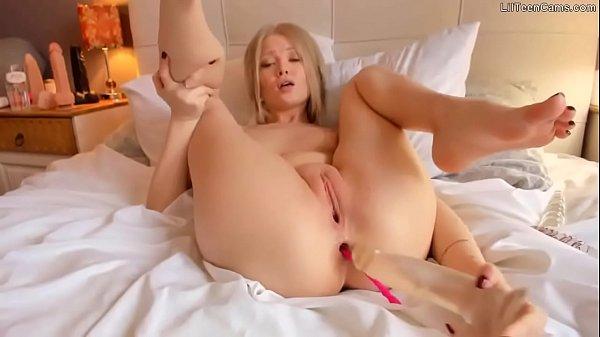 Tiny Hot Blonde Deepthroats A Huge Dildo - Join LilTeenCams.com Thumb